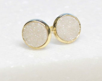 White Druzy Gold Earrings