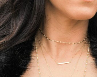 Gold or Silver Bar Chain Choker