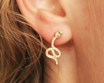 CZ Gold Snake Earrings - Aura Collection