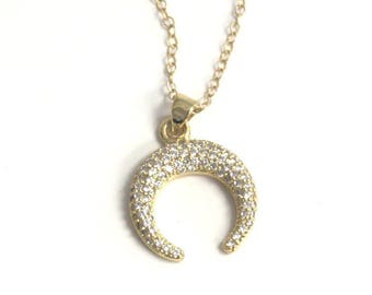 Pave Double Horn Charm Necklace