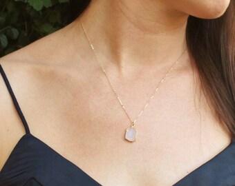 Charm Necklace, Petite Druzy Necklace, Bridesmaids Gifts, Druzy Necklace, Crystal Necklace, The Silver Wren Druzy Jewelry, Boho Necklace