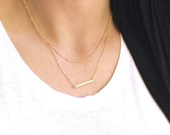 Satellite & Petite Hammered Bar Layered Necklace Set