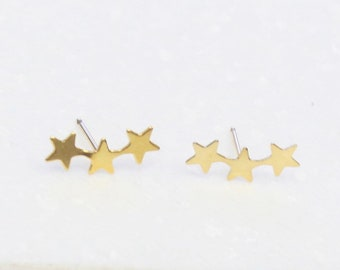 Gold Triple Star Stud Earrings