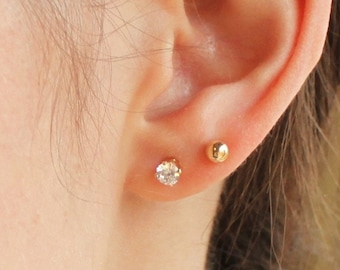 Set of 2 Tiny Gold Earrings - Gold Ball & CZ Studs