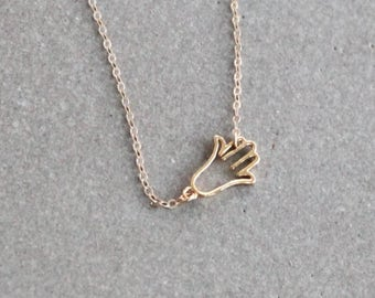 Tiny Hamsa Necklace, Hand Charm Necklace, Layering Necklace, Boho Necklace, Silver or Gold Hamsa Necklace, Yoga Jewelry, gift under 25
