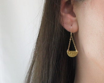 Gold Half Moon Dangle Earrings