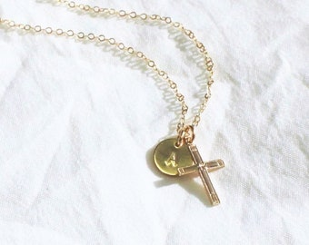 TINY Initial & Cross Necklace - Silver or Gold