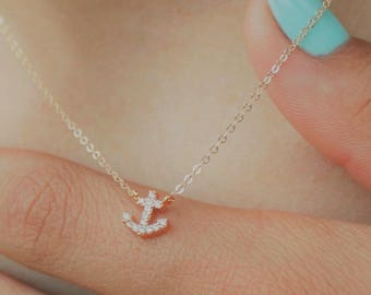 Ultra Tiny Pave Anchor Necklace