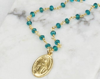Miraculous Medal Charm on Rosary Chain