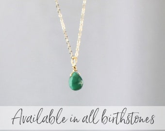 Birthstone Teardrop Charm Necklace on link chain