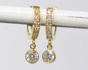 Tiny CZ Hoop & Drop Earrings