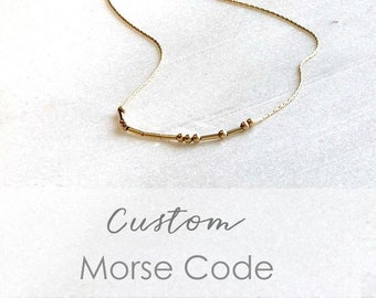 Custom Morse Code Necklace in Silver or Gold