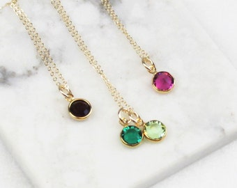 Dainty Crystal Birthstone Necklace, choose up to 6 charms in silver or gold