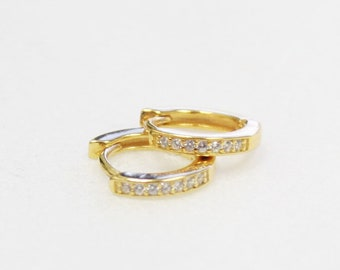 Tiny CZ Hoop Earrings - Huggie Hoops