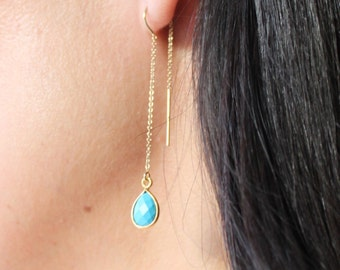 Sally - Long Gem Teardrop Earrings