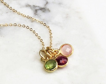 TINY Birthstone  Charm Necklace