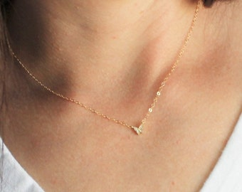 Ultra Tiny Butterfly Necklace, Gold Butterfly with CZ's