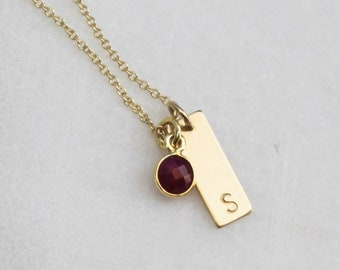 Petite Rectangle Initial Necklace with Birthstone Charm