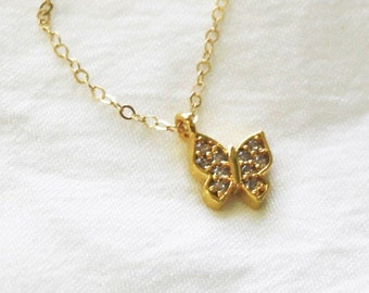 Dainty Gold Butterfly Necklace DN234