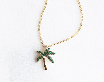 Tiny CZ Palm Necklace
