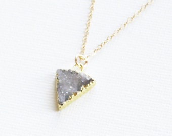 Petite Druzy Necklace, Crystal Pendant Necklace, 14kt Gold Filled Crystal Necklace, Druzy Jewelry, Gift for Her, Bridesmaids Necklace, Drusy