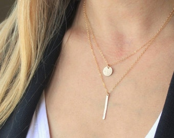 Petite Disc & Bar Layered Necklace Set