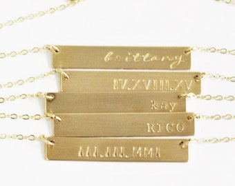 Gold Necklace, Personalized Necklace, Gold Bar Necklace, Customized Name Bar Necklace, Personalized Gift for Her, The Silver Wren