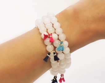 Set of 3 Stackable Bracelets, White Jade- Choose your tassel colors