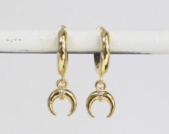 Tiny Moon Hoop Earrings