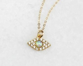 Tiny Pave and Opal Evil Eye Necklace