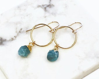 Allie - Raw Crystal Dangle Earrings