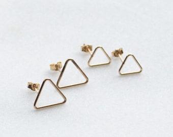 Gold Triangle Stud Earrings
