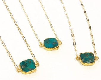 Dainty Turquoise Slice Necklace - Choose your chain