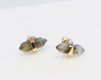 Labradorite Pointed Stud Earrings