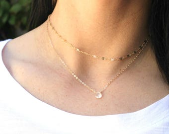 Dainty Gemstone Necklace, Dainty Necklace, Moonstone Necklace, Layering Jewelry, Dainty Gold Necklace, Bridesmaid Gift, June Birthstone
