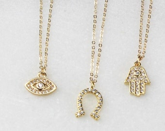 Super Tiny  Pave Gold Necklace
