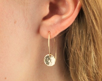 Drop Coin Earrings in  Silver or Gold