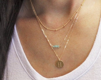 Satellite, Gem Bar and Medium Initial Disc Layered Necklace Set of 3