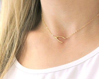 Sideways Wishbone Necklace