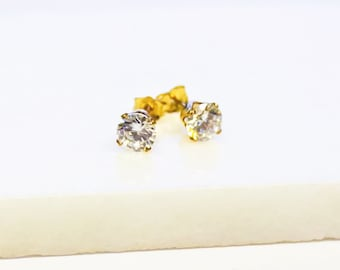 CZ Gold Stud Earrings