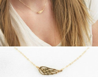 Sideways Angel Wing Necklace