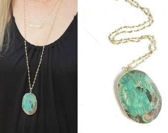 Green Ocean Jasper Long Pendant Necklace