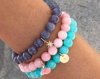 Set of 3 Gemstone Stackable Bracelets - Choose your color and charm