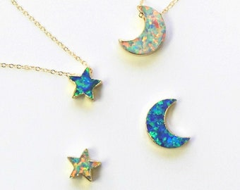Tiny Star or Moon Necklace Opal Charm Necklace