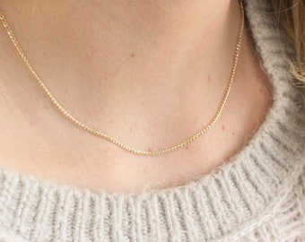 Dainty Curb Chain Necklace in 14kt Gold Fill