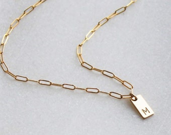 Mini Rectangle Charm Necklace