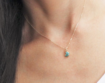 Gifts for her, Petite Turquoise Moon Necklace