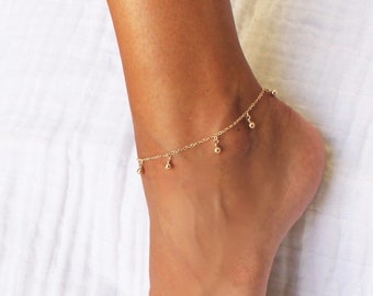 Dangling Ball Chain Anklet Bracelet - Silver or Gold