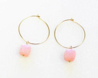 Gold Gem Cube Hoop Earrings