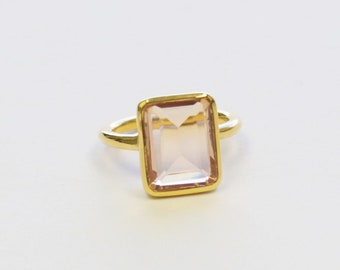 Rectangle Morganite Quartz Ring
